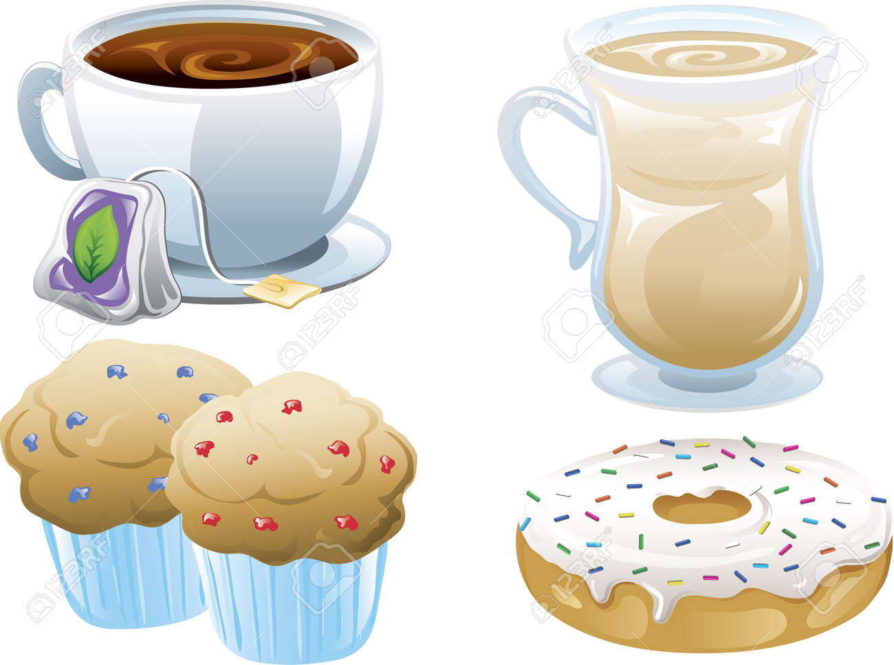 Illustrations of four different cafe food icons, iced coffee, tea, muffins and a doughnut. Stock Vector - 7346872