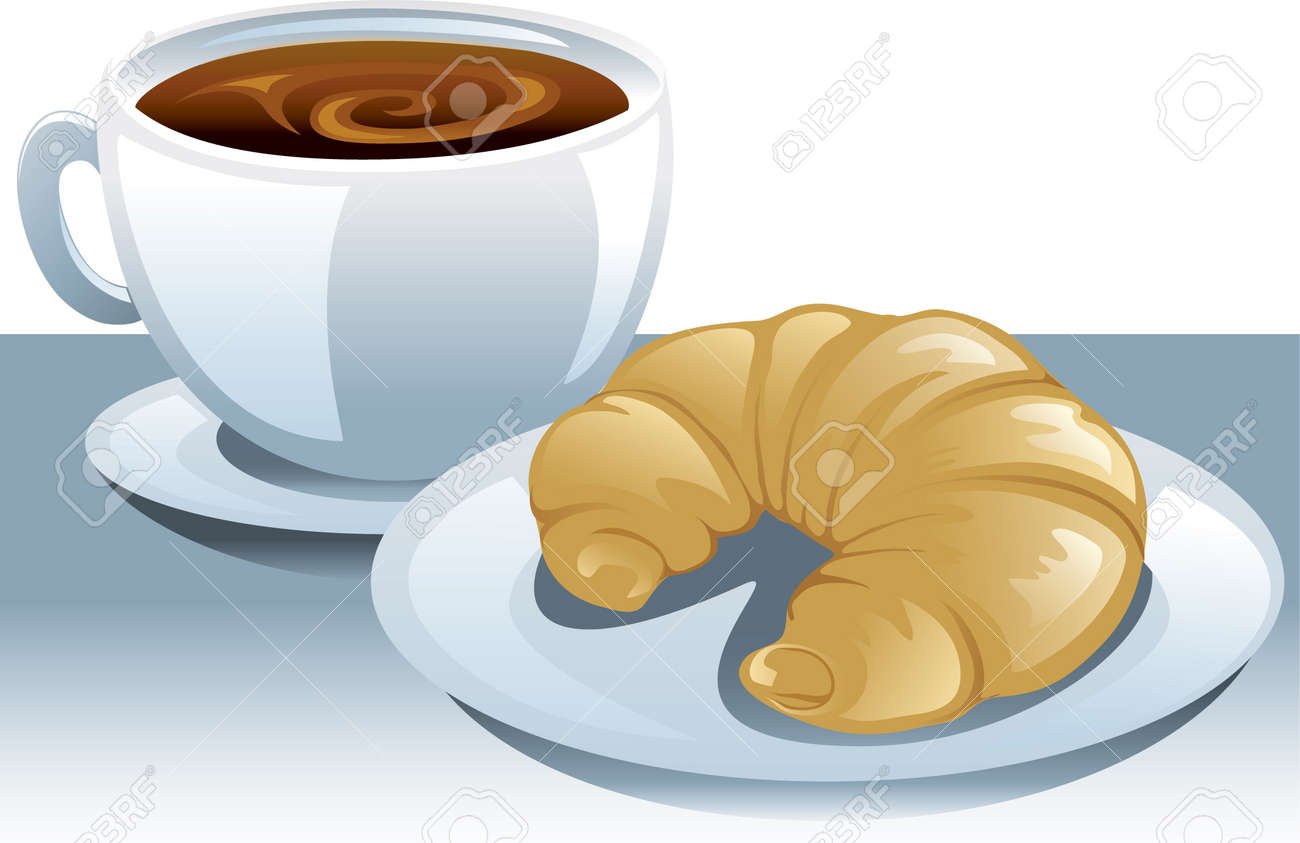 Illustration of a cup of coffee and a plate with a croissant. Stock Vector - 7346870