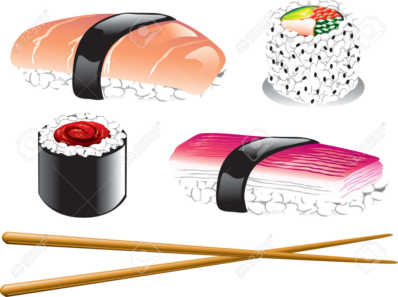Illustration of different japanese food icons, including sushi, sashimi and chopsticks Stock Vector - 7771420
