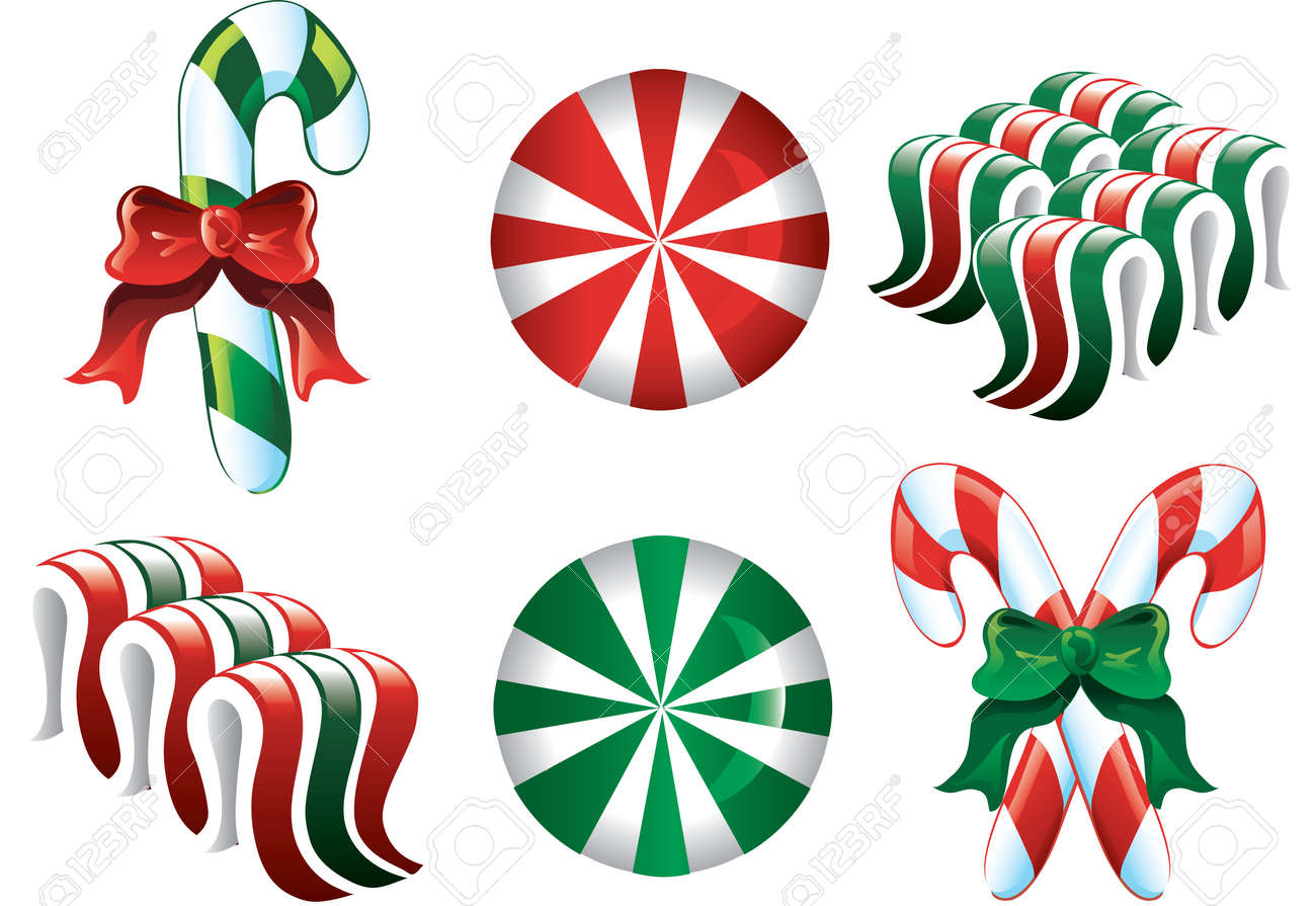 Christmas Candy Clipart.Colorful Christmas Candy Icons In Red Green And White