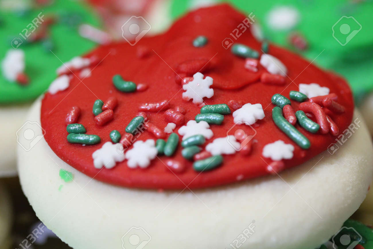 Photo Of Homemade Christmas Cookies With Sprinkles And Frosting