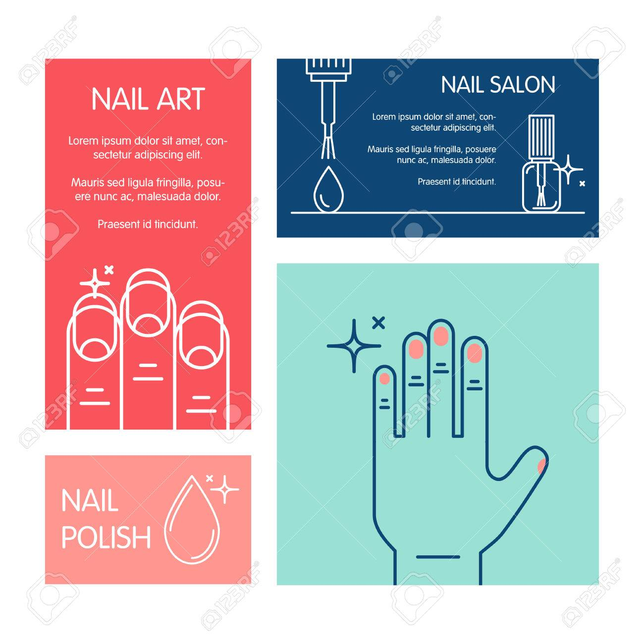 Set of business cards vector template on the theme of beauty set of business cards vector template on the theme of beauty and health of nails colourmoves