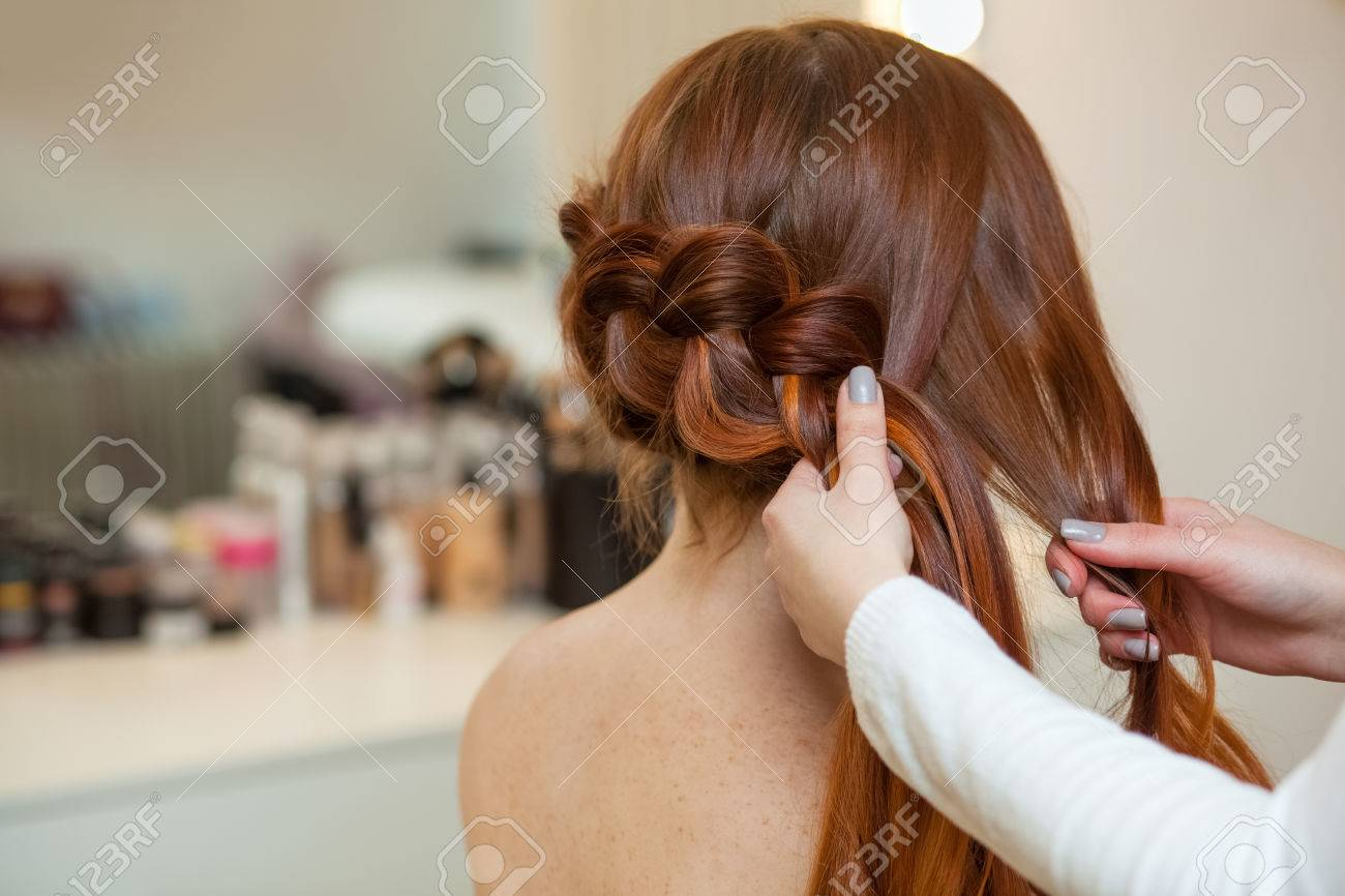 Beautiful Red Haired Girl With Long Hair Hairdresser Weaves