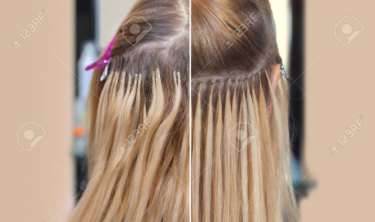 Photo Before And After Hair Extensions To A Young Girl A Blonde
