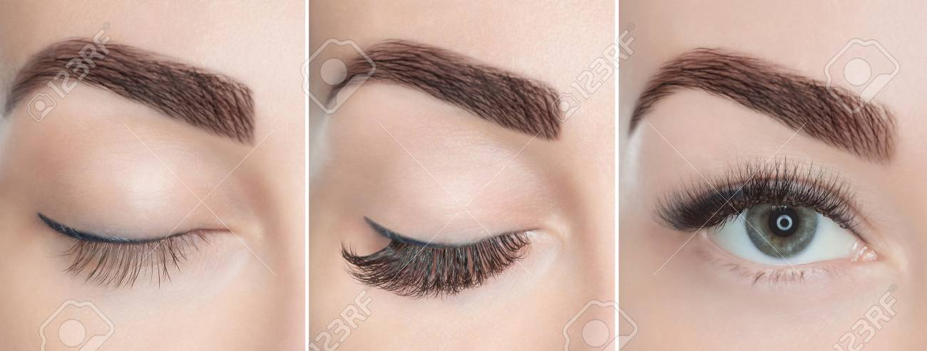Eyelash extension procedure close up. Beautiful Woman with long lashes in a beauty salon. - 95012863