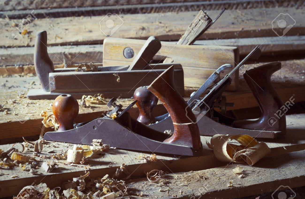 Old Wood Planes On Wooden Planks Stock Photo Picture And Royalty