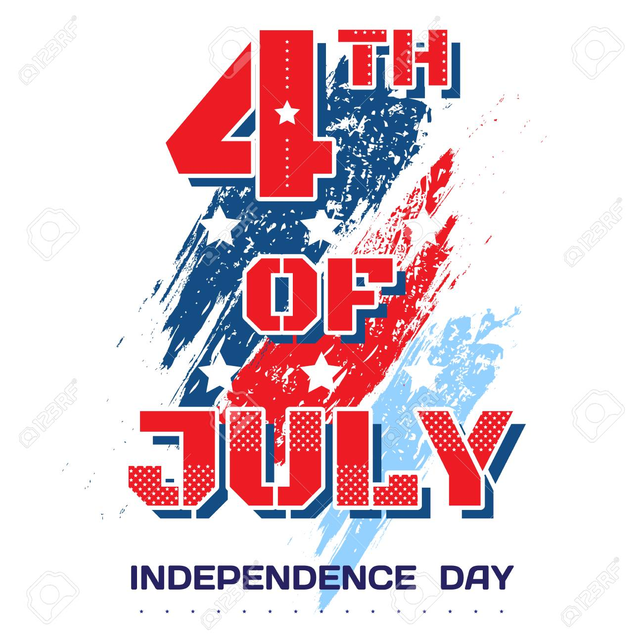 4th Of July Bright Inscription July 4th On A White Background
