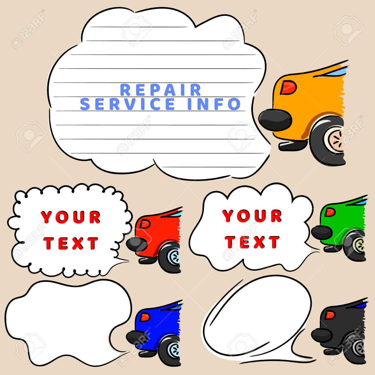 Car And Speech Bubbles For Message. Sketchy Automobile With Tags ...
