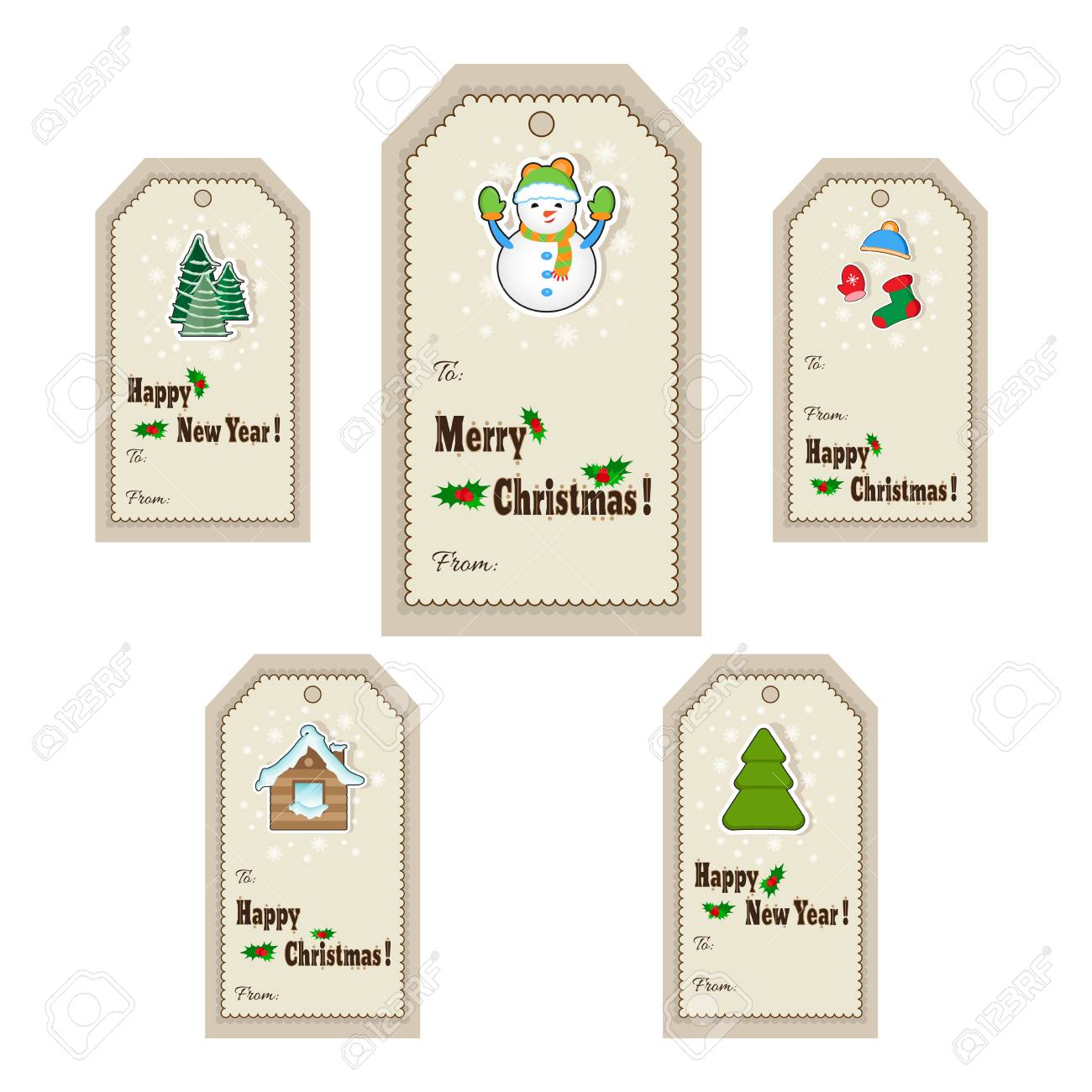 Christmas Gift Tag Template.Christmas Gift Tags And Labels Vector Illustration Template