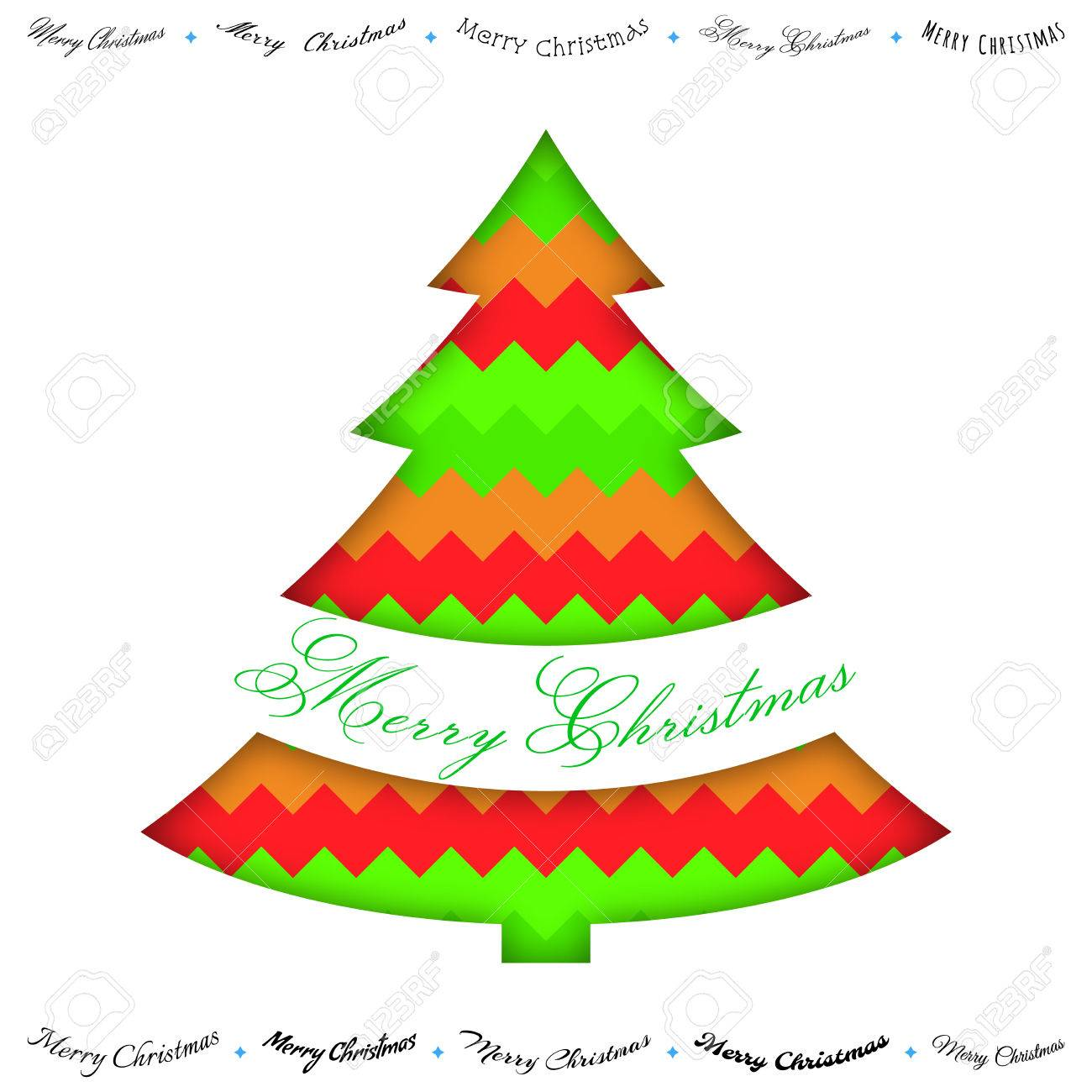 Merry Christmas Paper Green Red Greeting Card, With Cut In Christmas ...