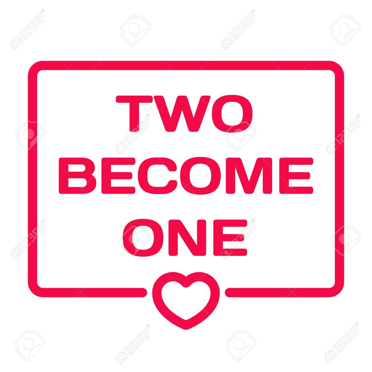 Two Become One Badge With Heart Icon Flat Vector Illustration ...