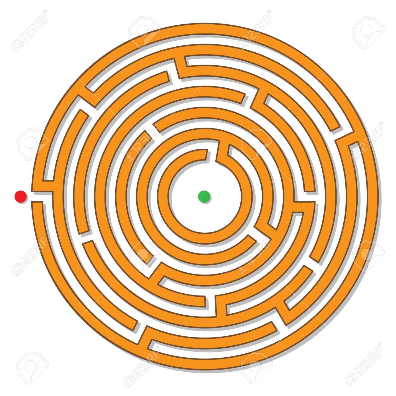 Circular Maze Labyrinth Logical Puzzle Vector Stock Photo