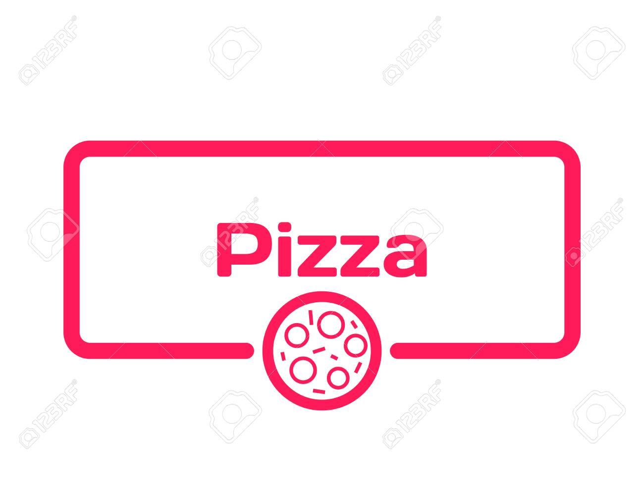 Bolla Di Dialogo Del Modello Di Pizza In Stile Piano Su Priorità Bassa Bianca Base Con Icona A Tema Per Varie Parole Di Trama Timbro Per Citazioni