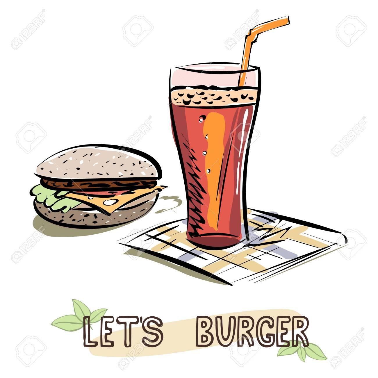 Let's Burger sketch. Burger and glass of lemonade on napkin. Vector illustration - 131846962