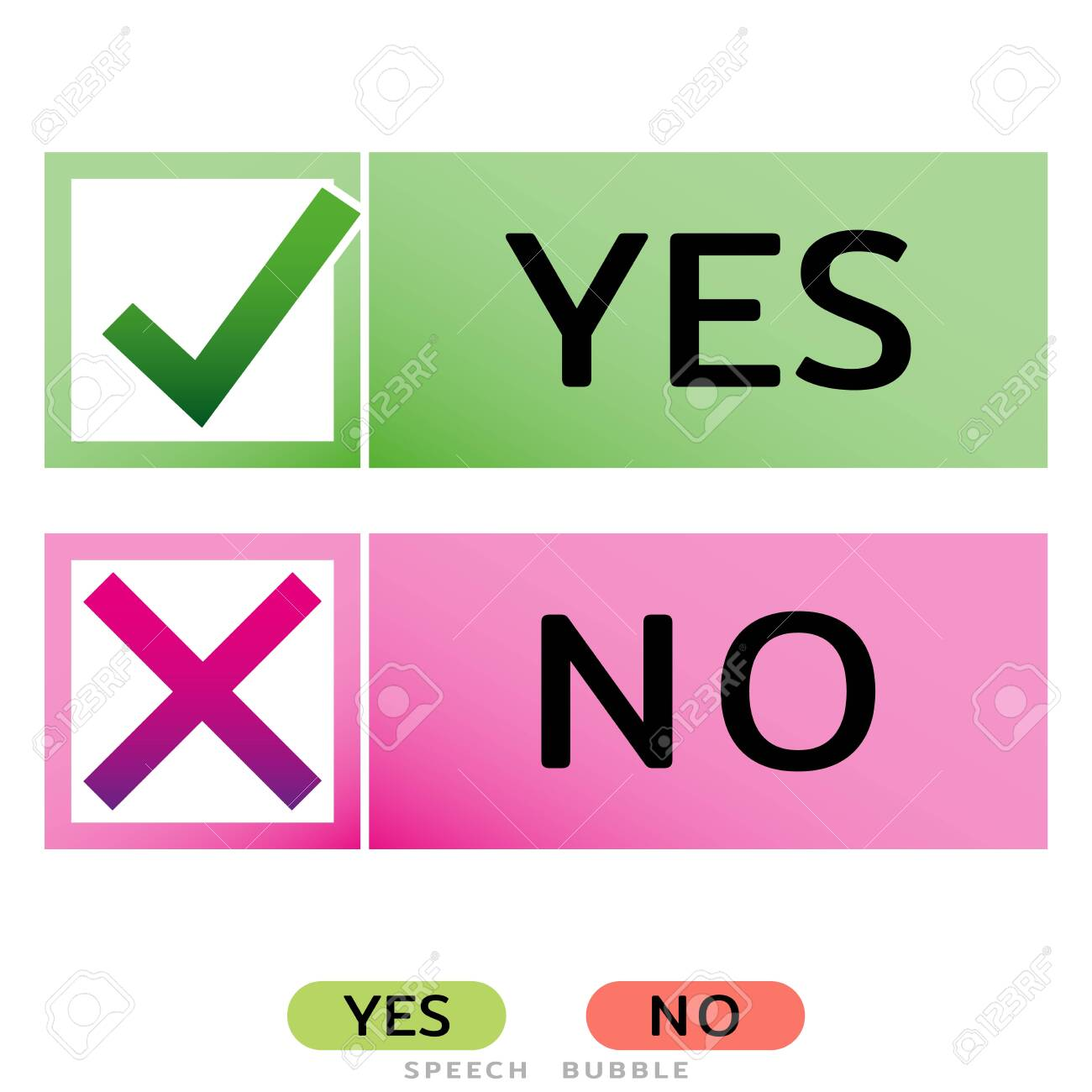 Yes No icons for websites or applications. Vote sign. Confirm Reject signs isolated on white. Vector illustration - 140602795