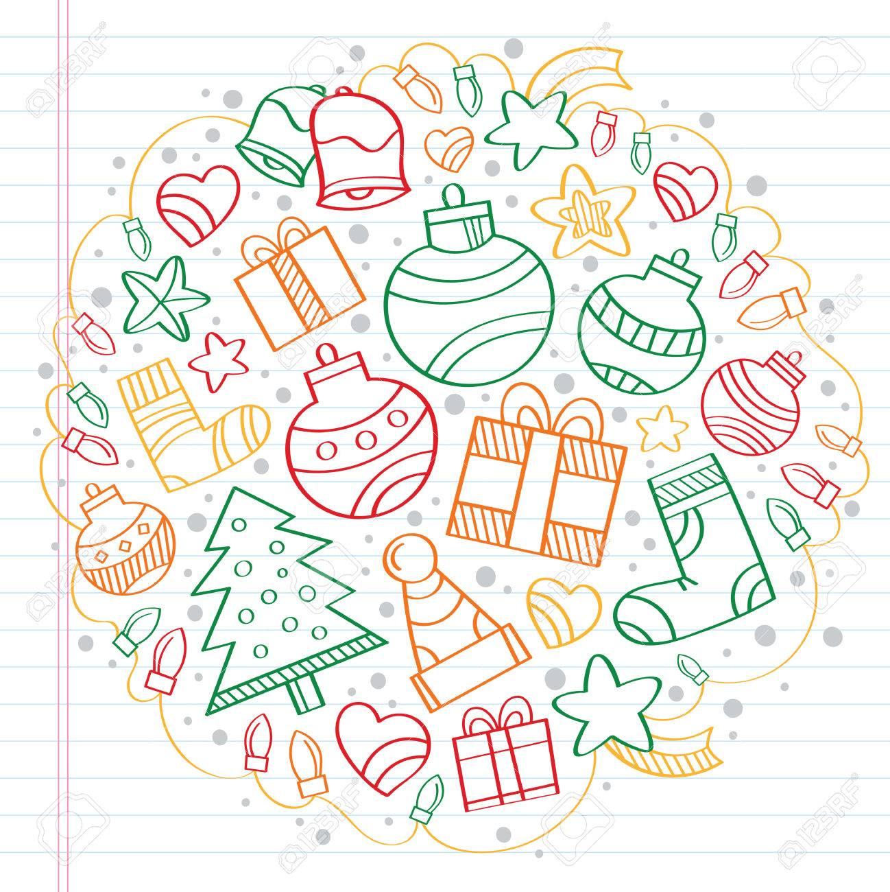 Weihnachten Skizze Zeichnungen über Das Notebook Lizenzfrei Nutzbare ...