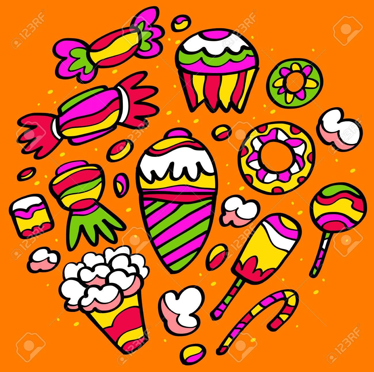 Disegni Colorati Di Dolci Gelati E Torte Tutto Ciò Che A Un Bambino Piace Mangiare