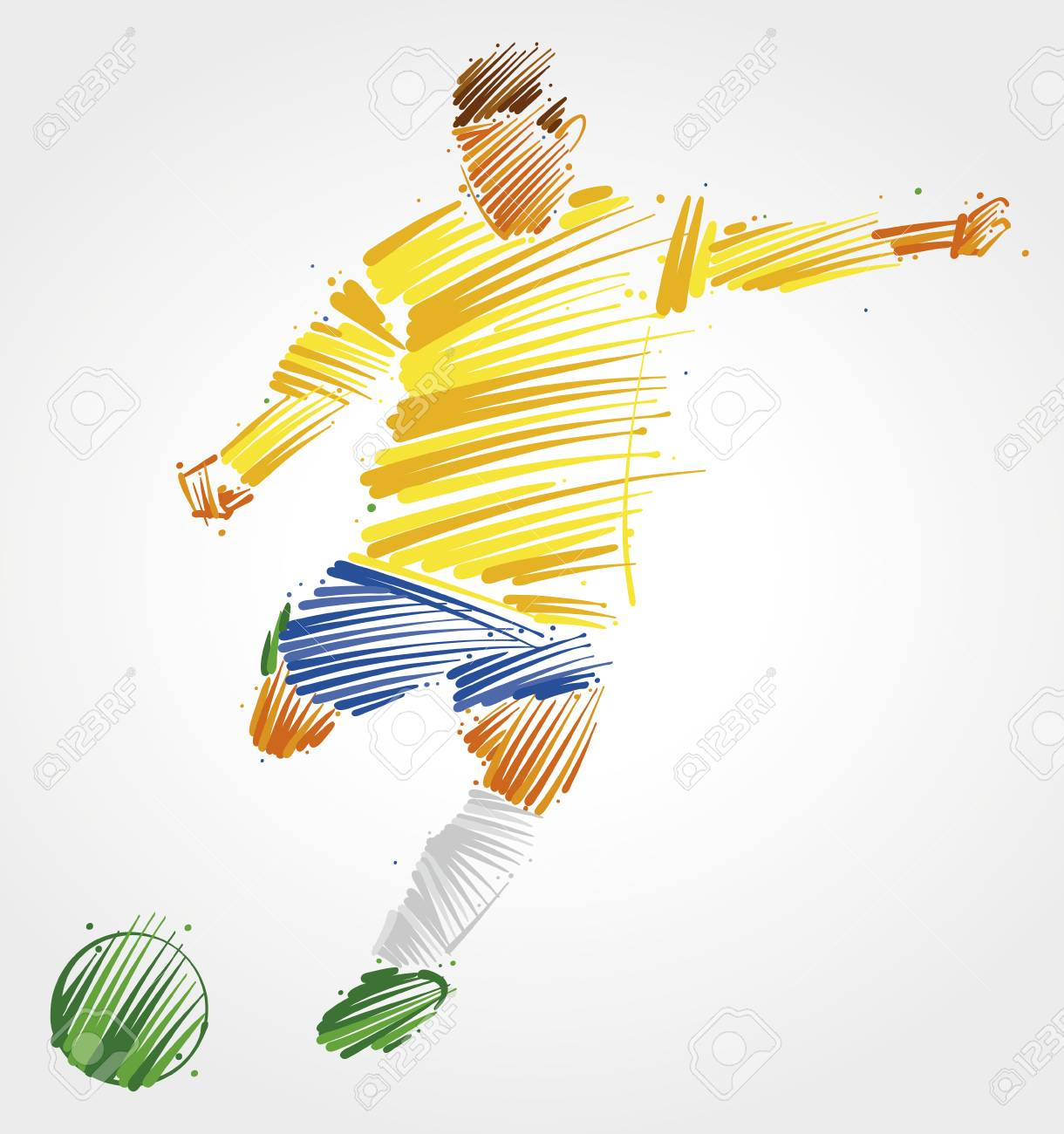 Soccer player kicking the ball made of colorful brushstrokes on light background - 93523539