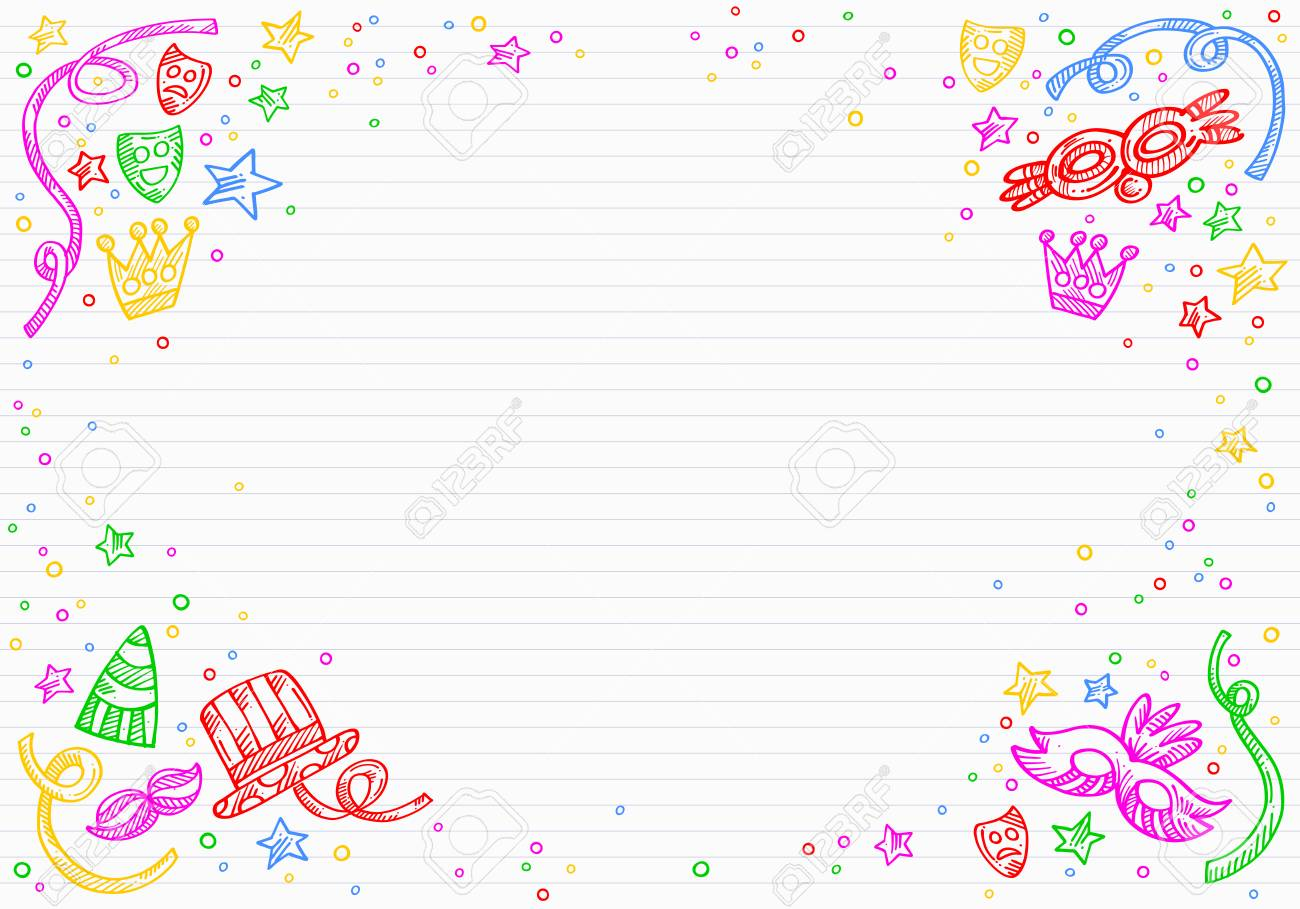 white carnival background with doodles of masks confetti and