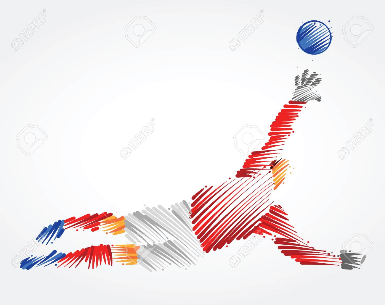 Russian goalkeeper jumping to catch the ball made of colorful brushstrokes on light background - 103854977