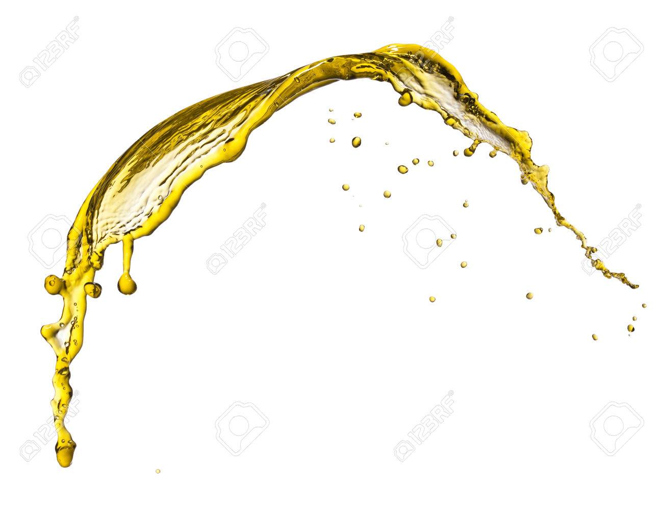 Flying splash yellow liquid on a white background - 27754908