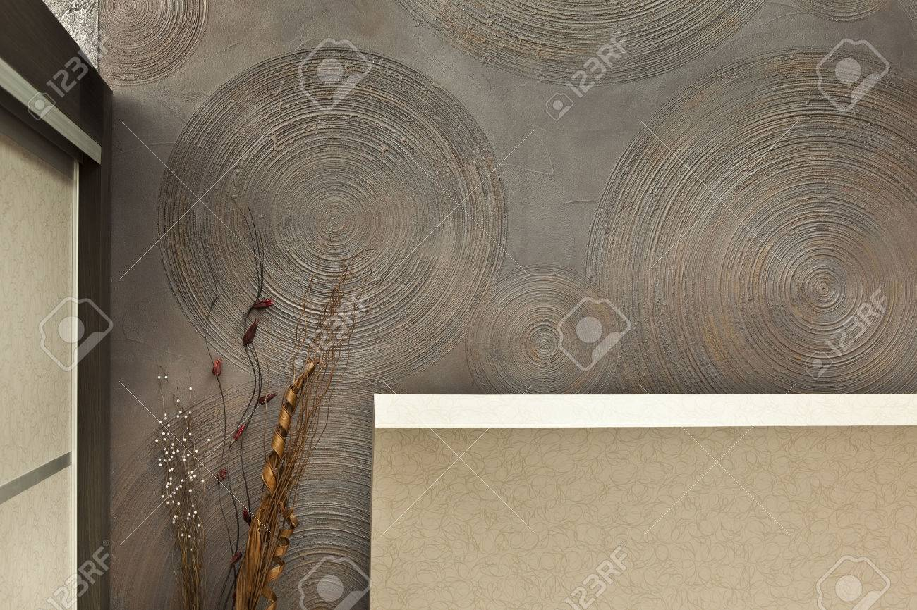 detail of interior wall decorative plaster - 27912928