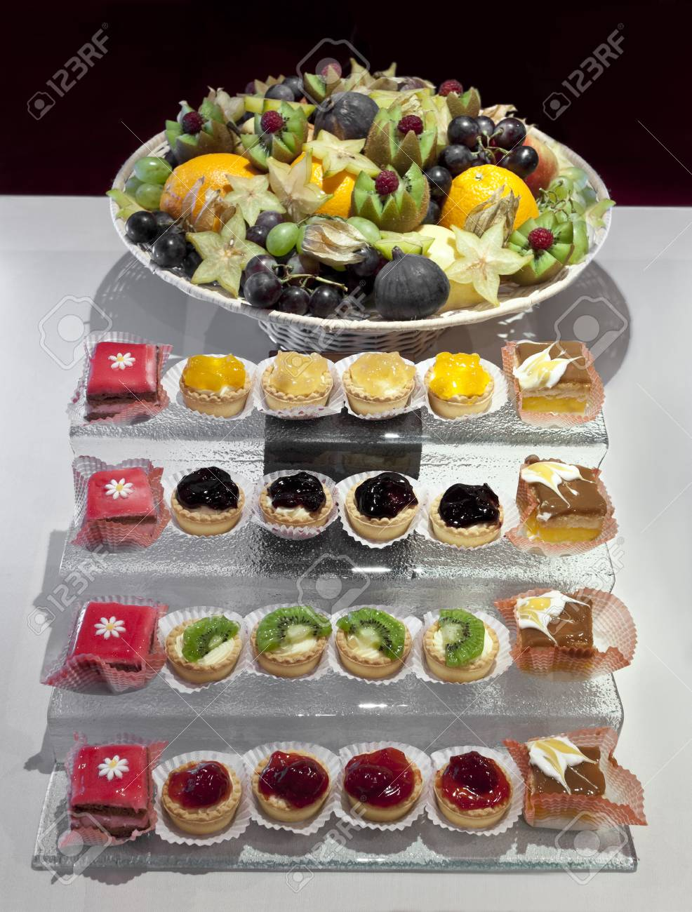 Catering Platters Of Small Pastries And Fruit Bowl Stock Photo Picture And Royalty Free Image Image 31125357