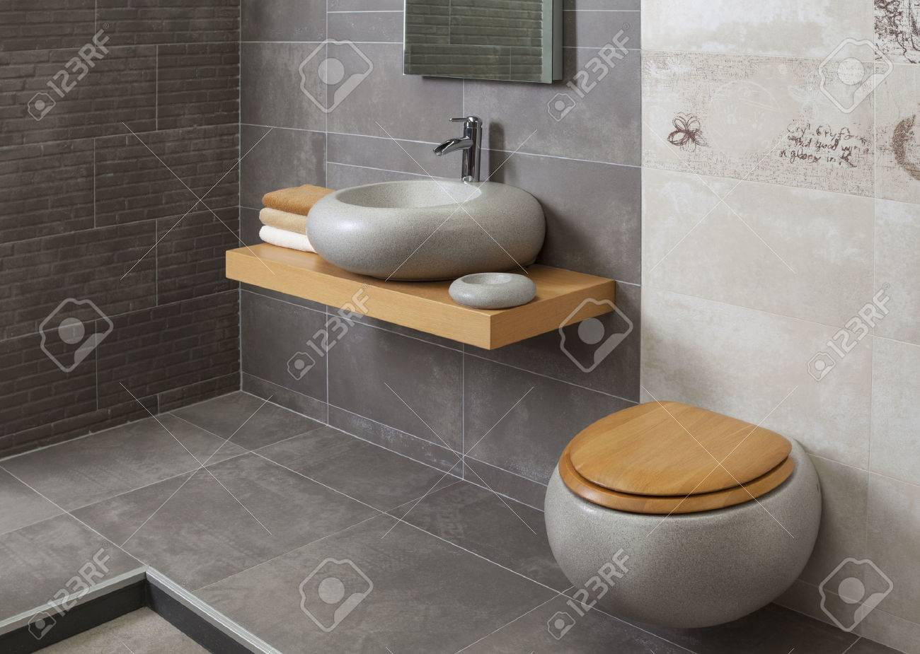 Detail Of A Modern Bathroom With Tub And Sink Stock Photo, Picture ...