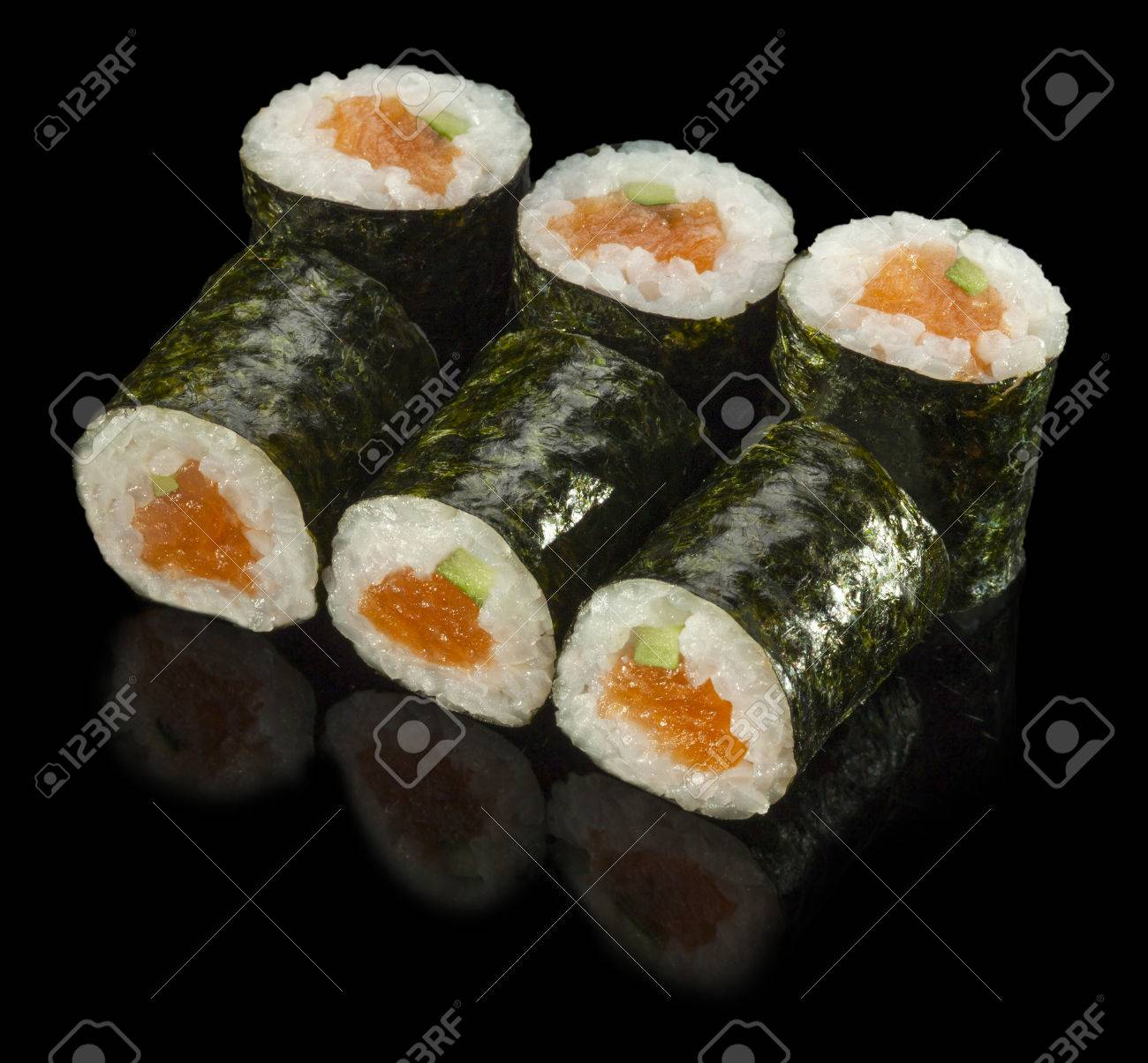 Sushi Roll with Fresh Salmon and Avocado - 45141122