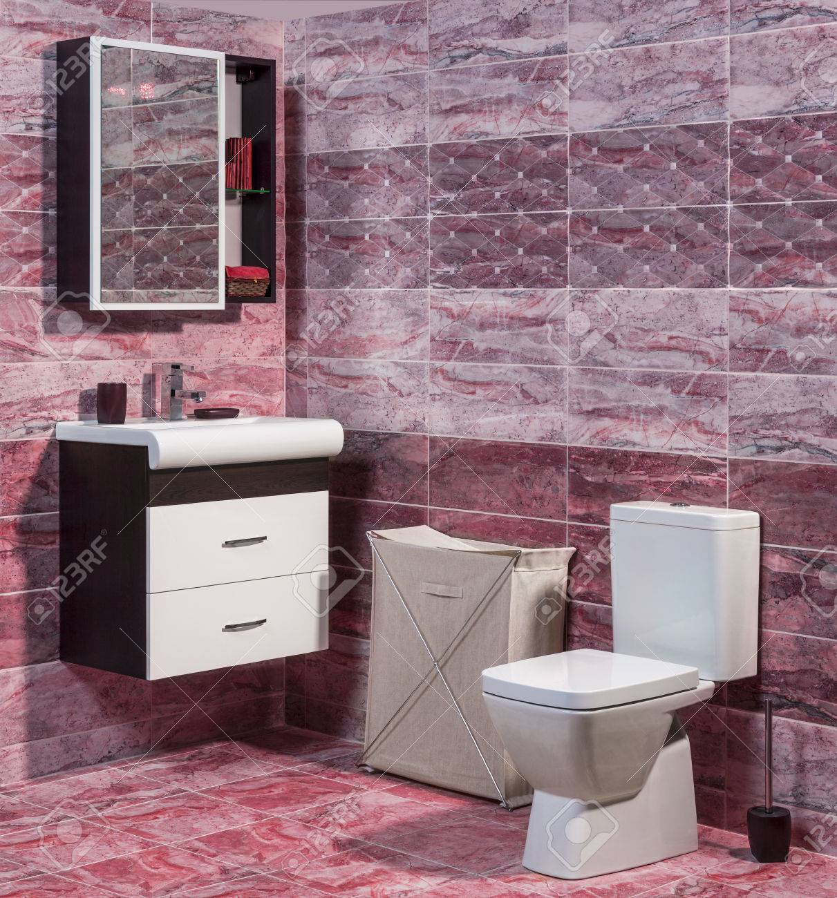 Inside Of Fashionable Bathroom In Red Color - Toilet And Sink Stock ...