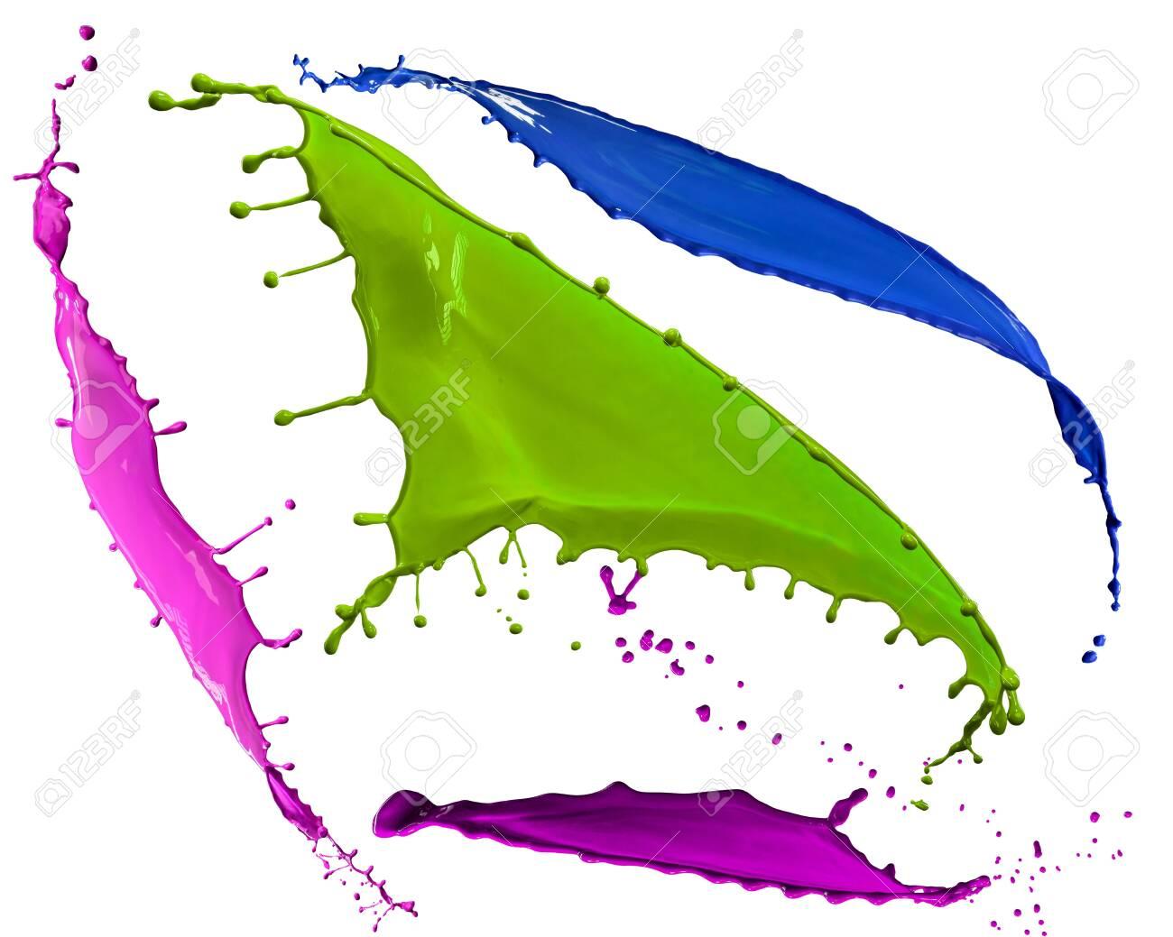 splendid different colors paint splash isolated on white background - 147542955