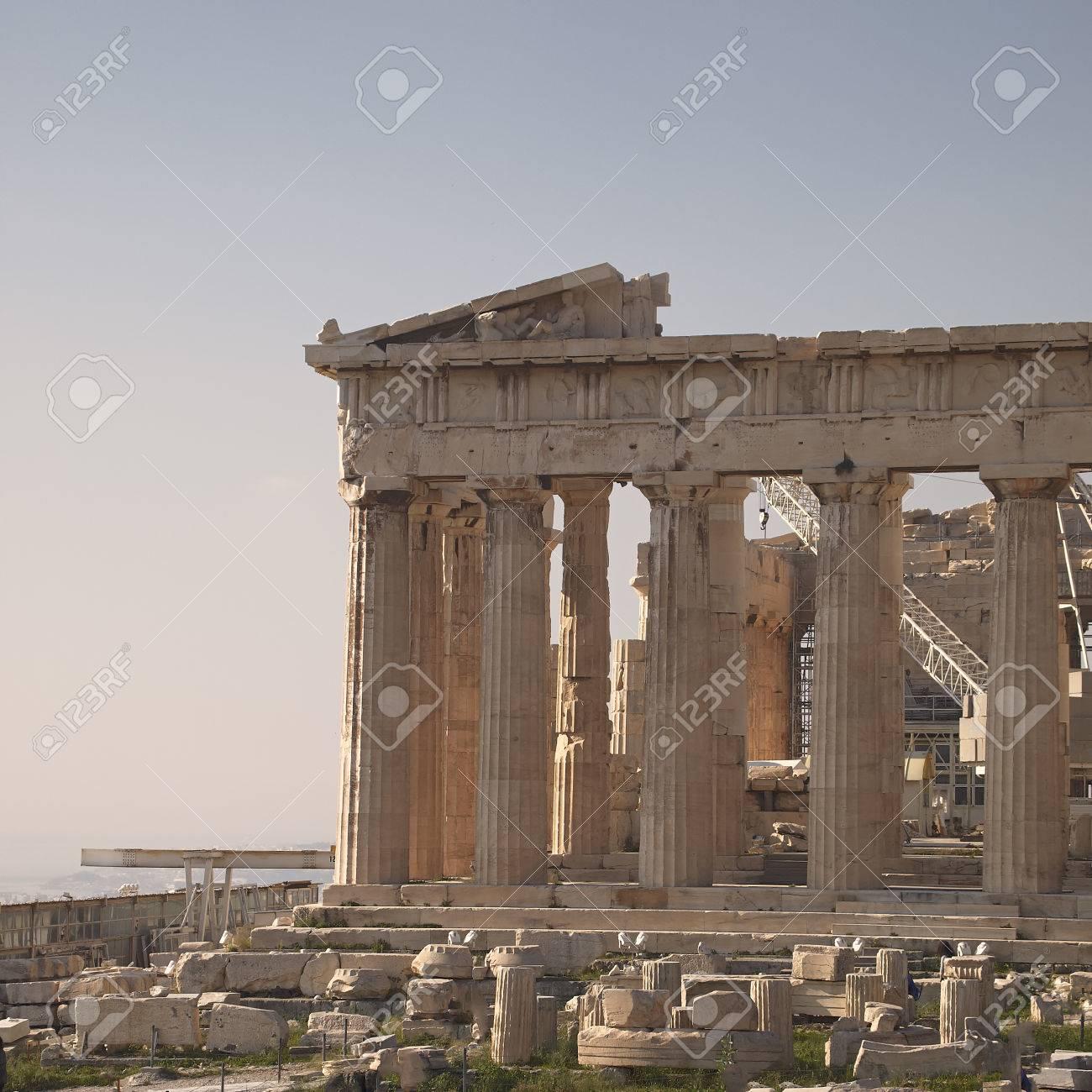 Parthenon Ancient Greek Temple Acropolis Of Athens Stock Photo
