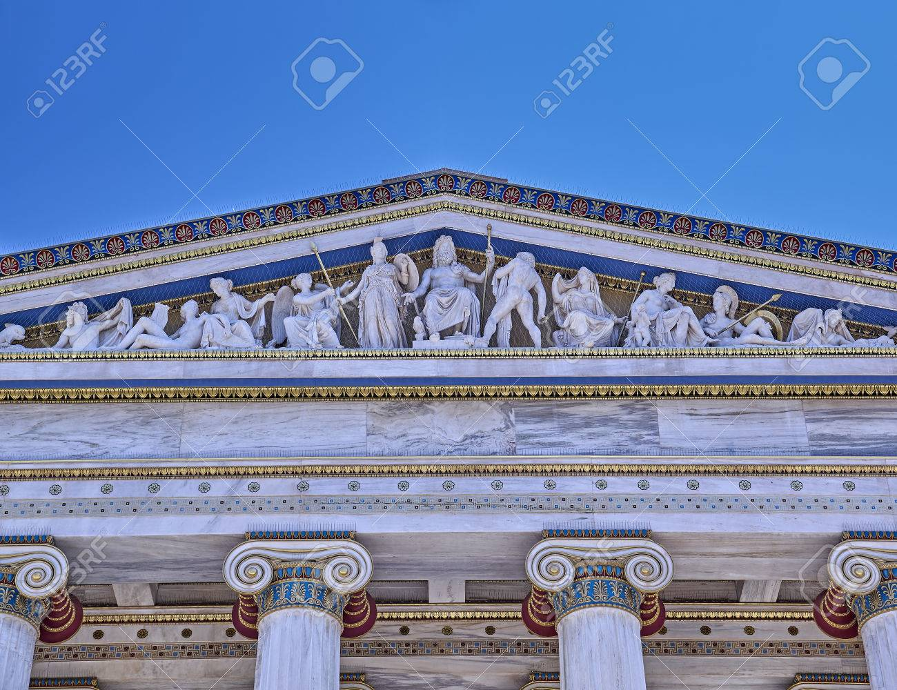 ancient greek gods and deities neoclassical pediment of national