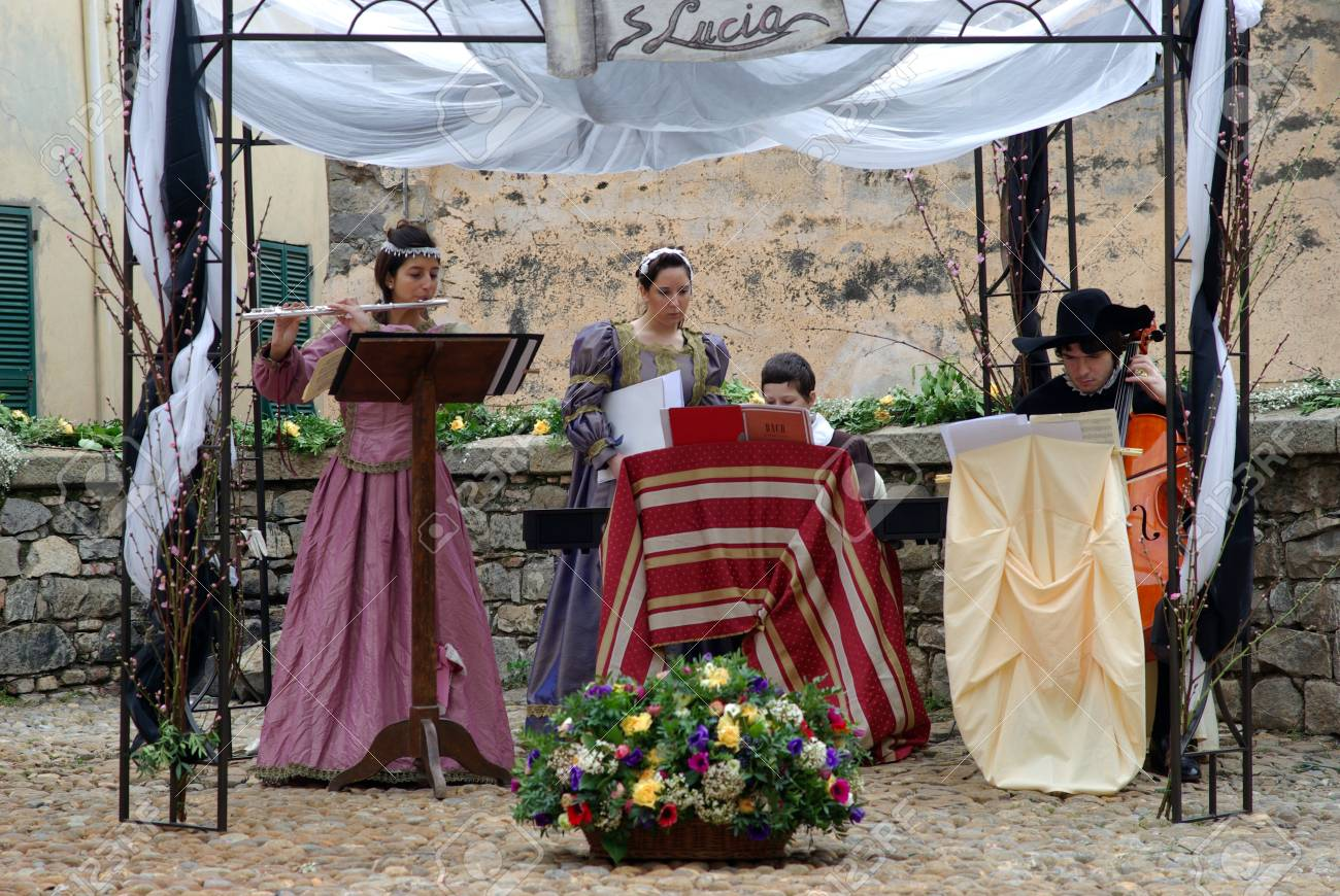 Taggia, Italy � February 28, 2010: Participants of medieval costume party Stock Photo - 17249545