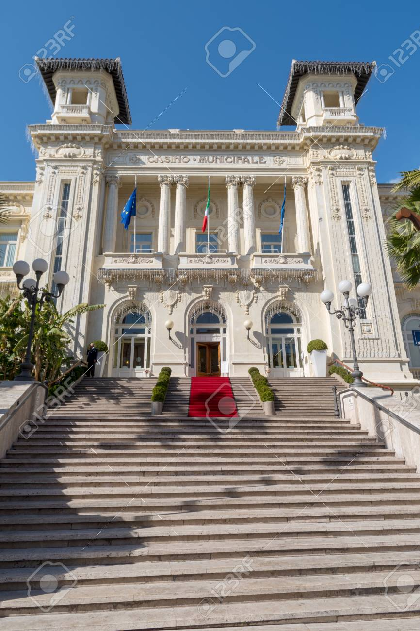 Sanremo, Italy - March 13, 2019: Facade view of the Municipal