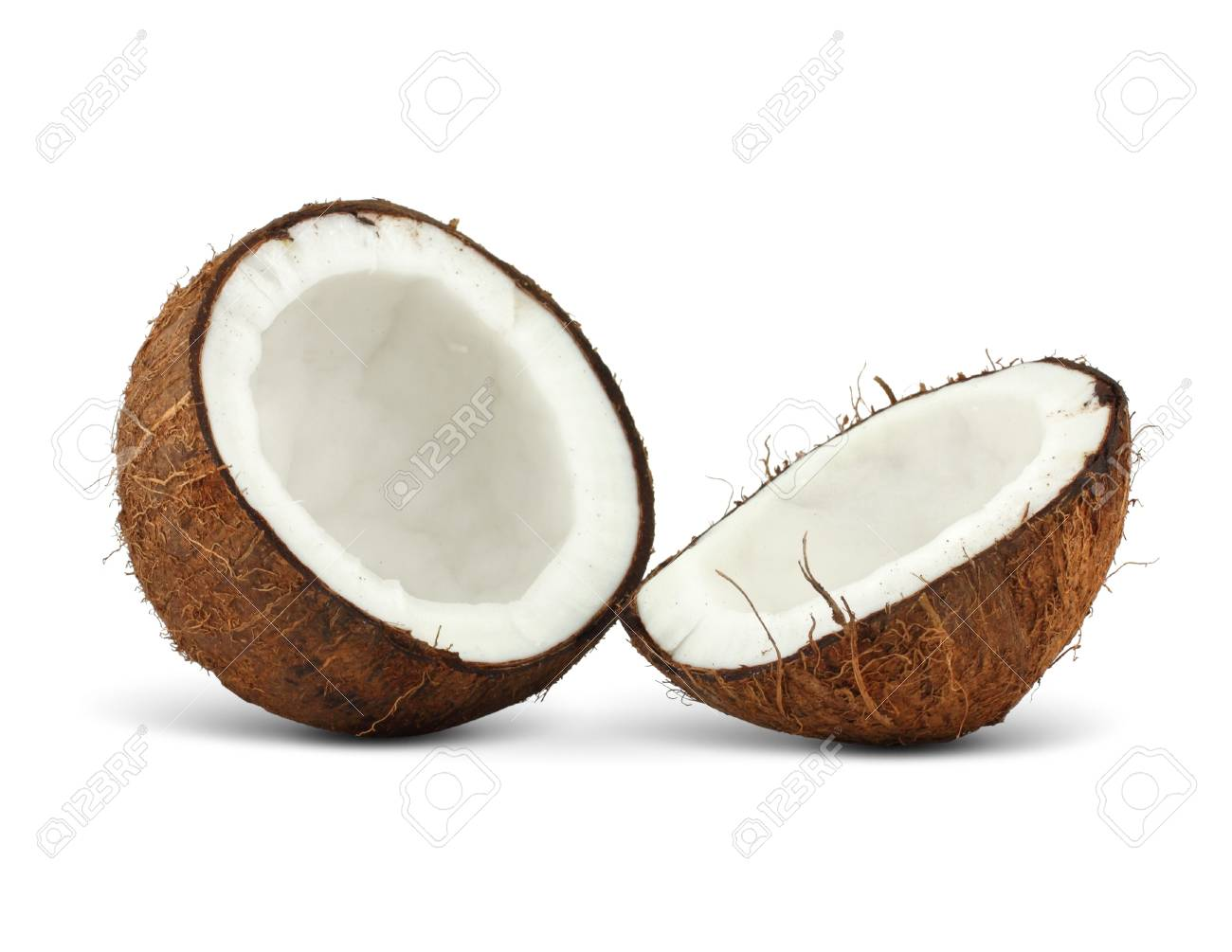 two halfs of coconut isolated on white background Stock Photo - 17156720