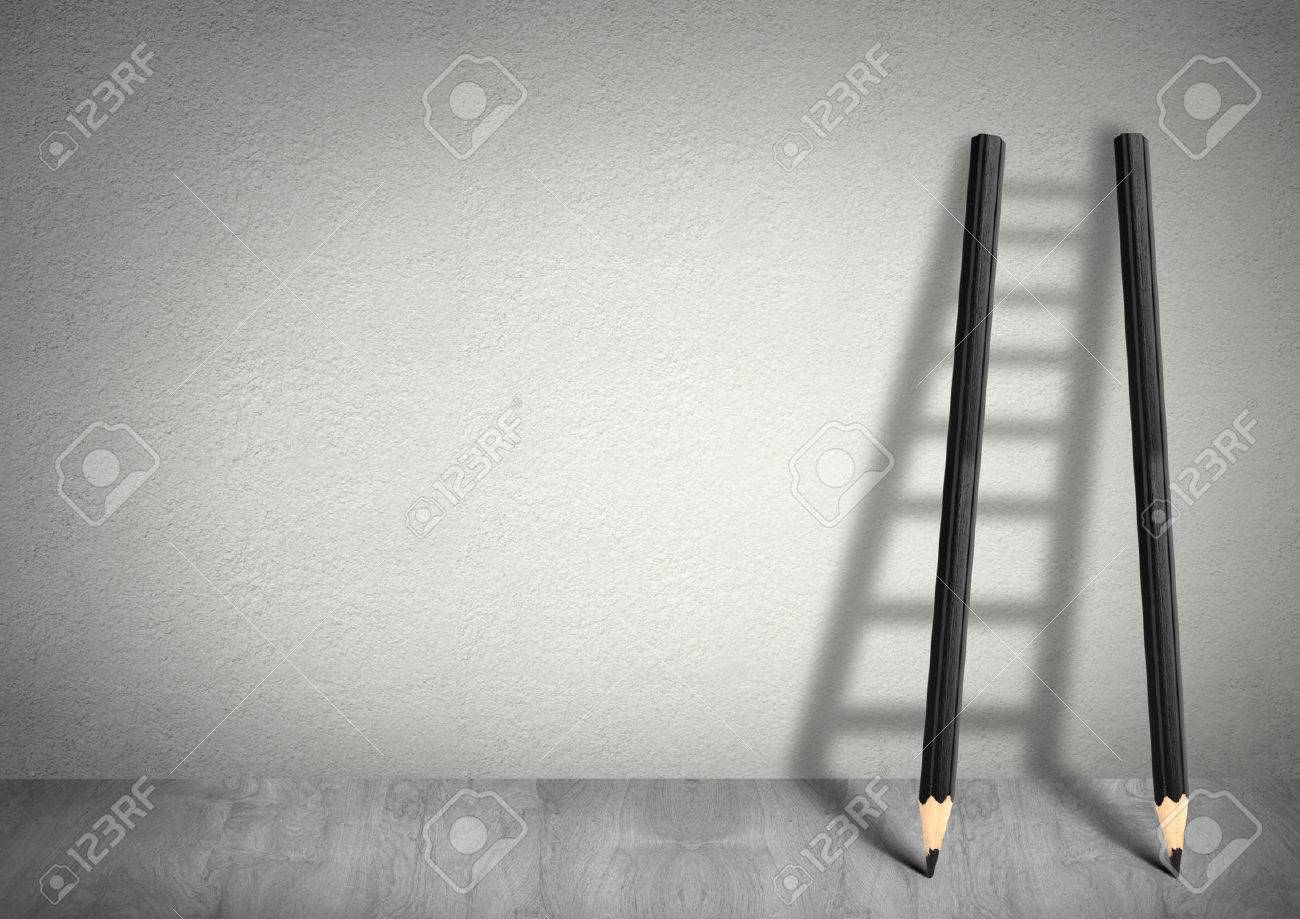 success creative concept, pencil Ladder with copy space Stock Photo - 46100957