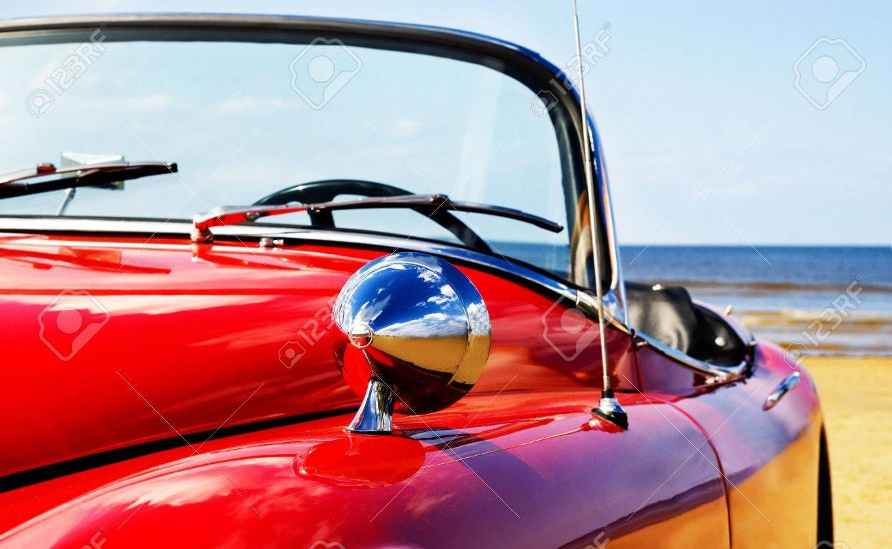 Old Classic Red Car At Beach Stock Photo Picture And Royalty Free