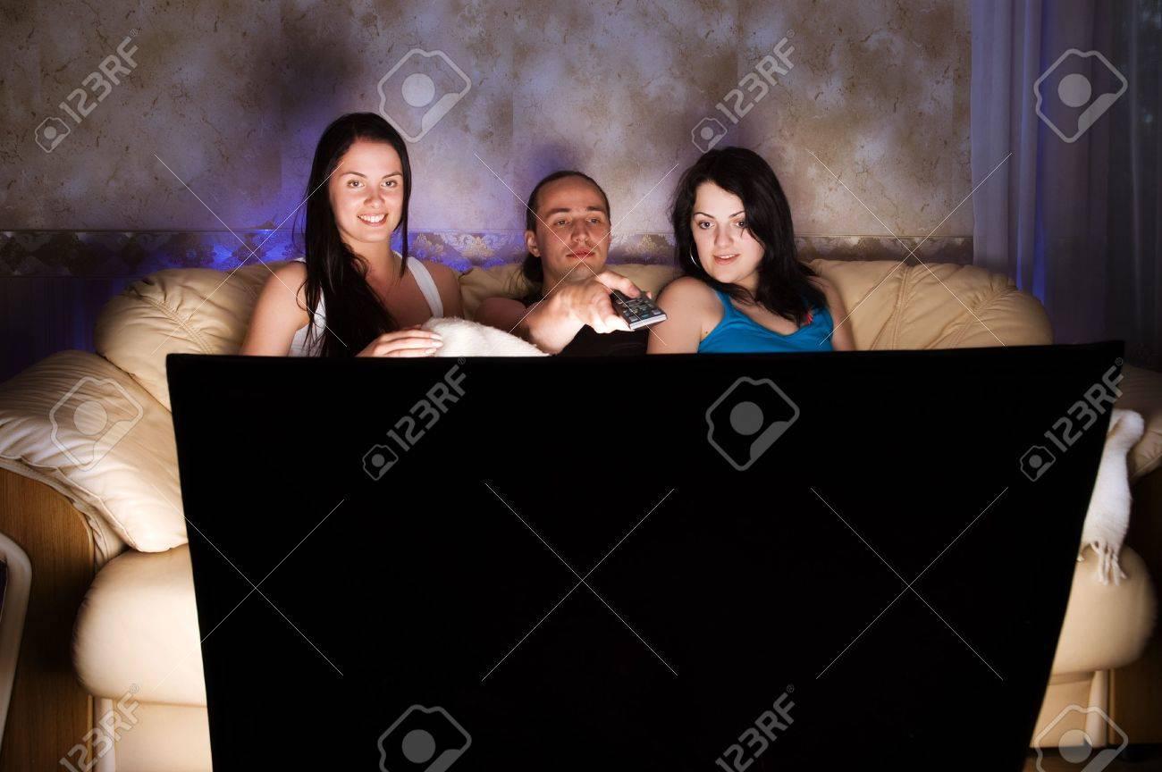 Three friends are watching TV Stock Photo - 5908650