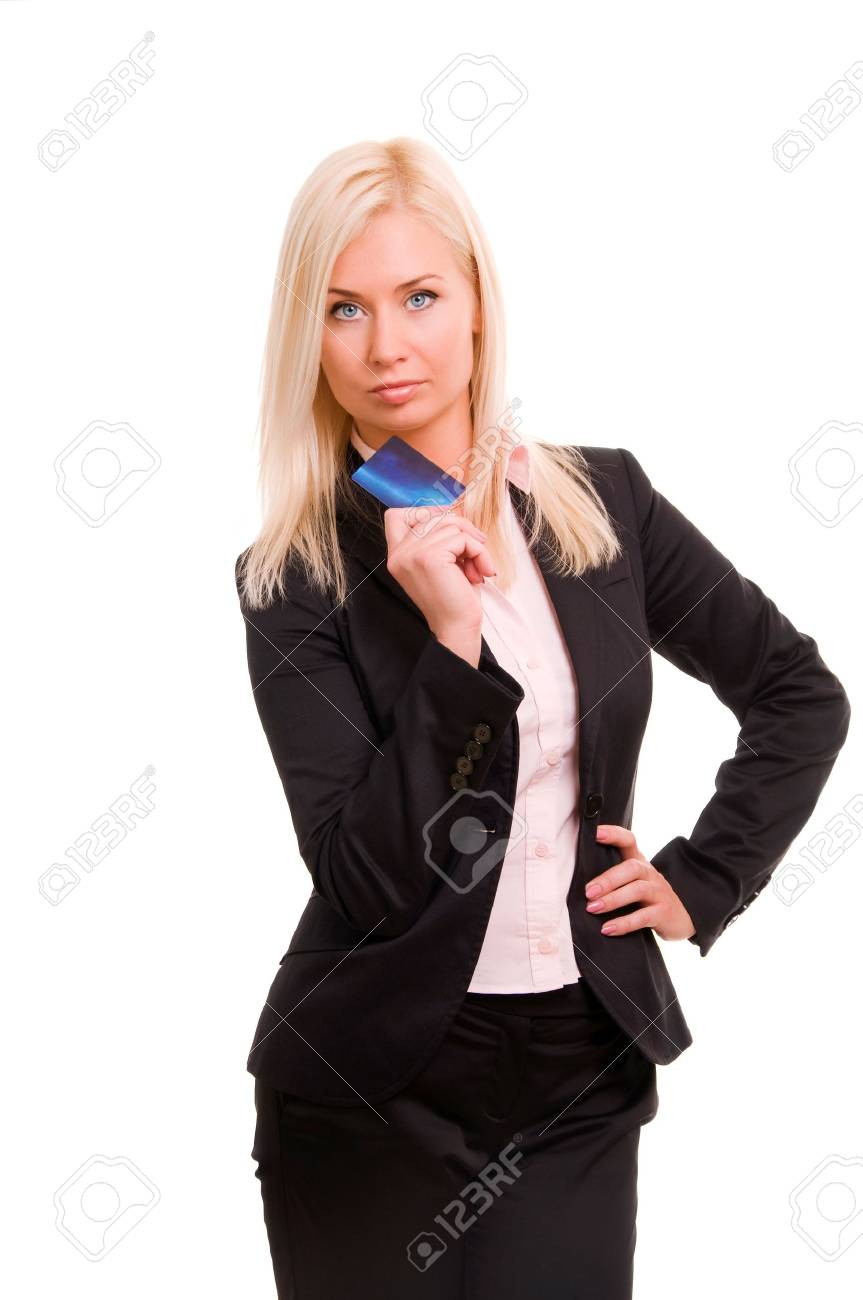 Young business woman holding new credit card Stock Photo - 8786085