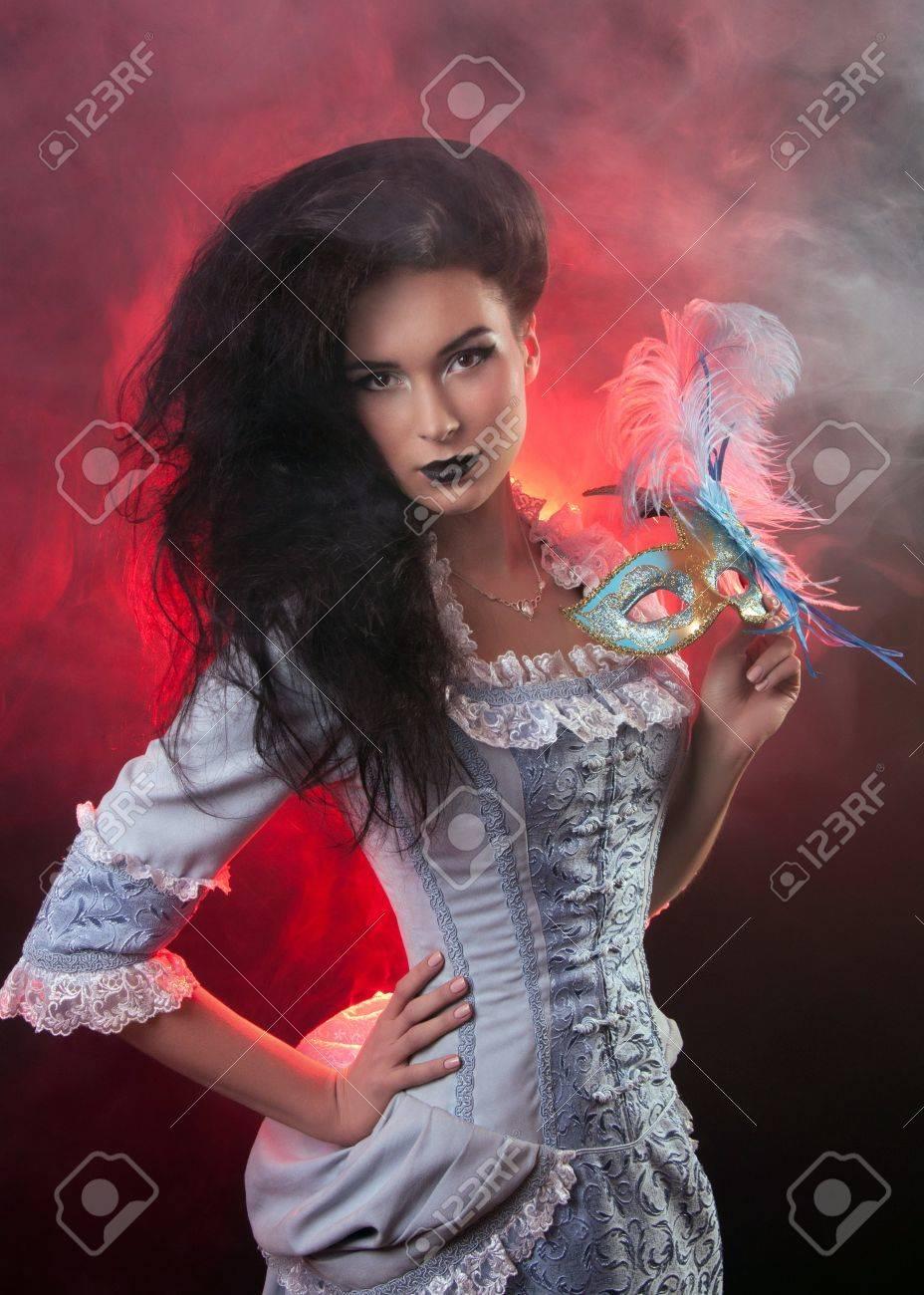 Beautiful Halloween Vampire Woman Aristocrat With Venetian Mask ...