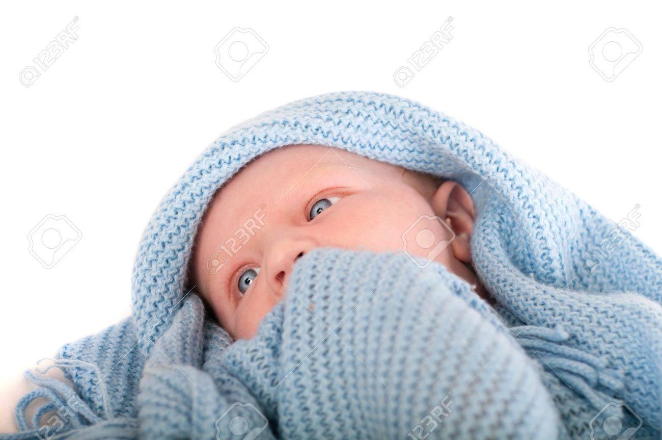 Cute Baby boy's portrait in blue wrap Stock Photo - 15654160