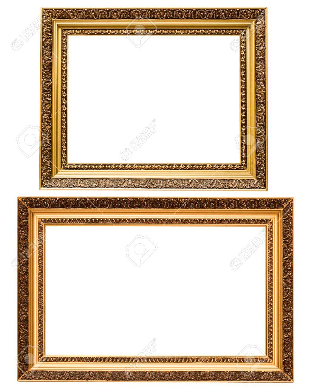 Two Gold Plated Wooden Picture Frames Isolated On White Stock Photo ...
