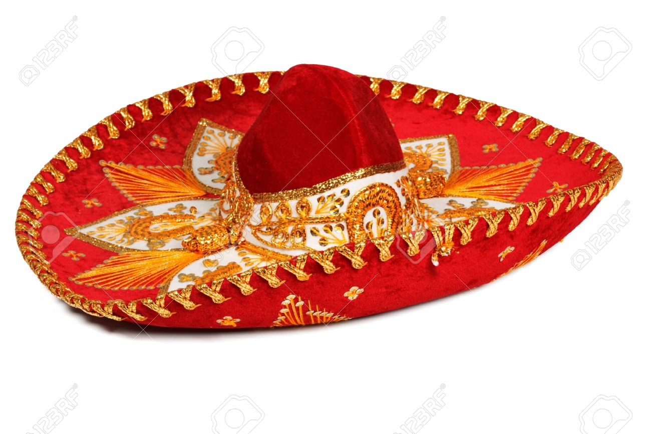Red sombrero isolated on whit Stock Photo - 4230954 7259661bbf6