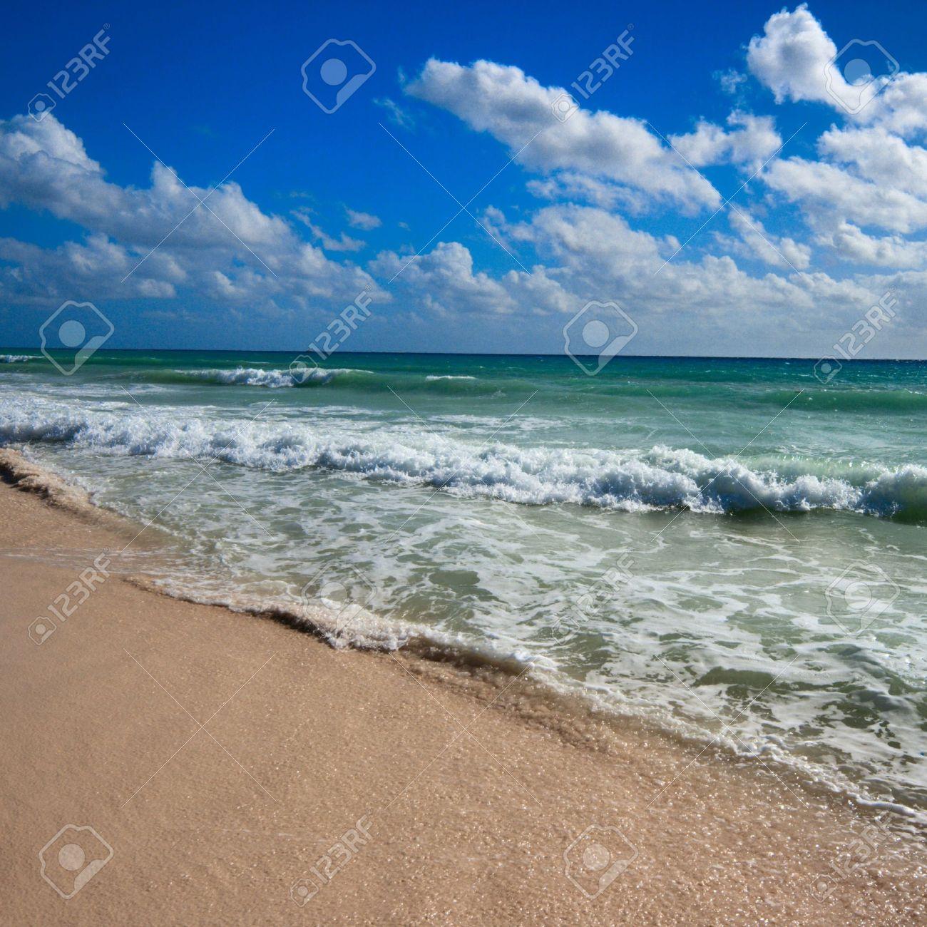 Beautiful beach and  waves of Caribean Sea Stock Photo - 4230869