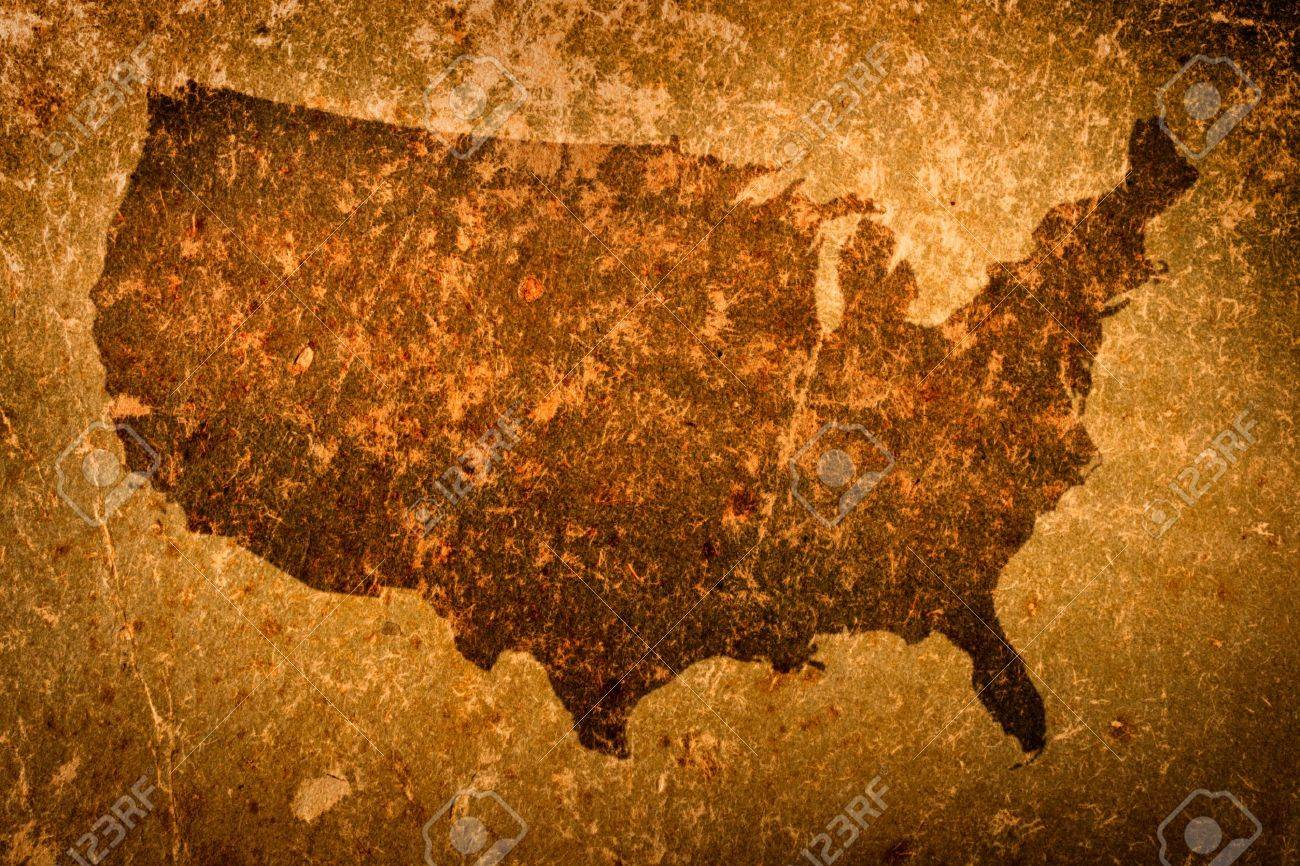 Old Grunge Map Of United States Of America Stock Photo Picture - How old is the united states of america