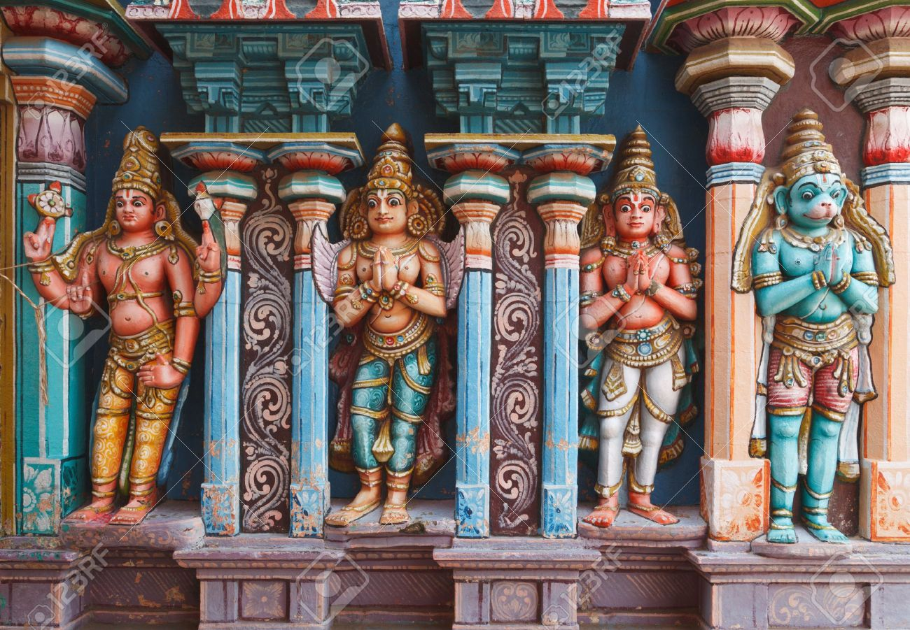 Hanuman statues in Hindu Temple  Sri Ranganathaswamy Temple