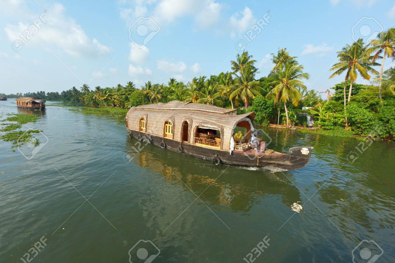Houseboat on Kerala backwaters. Kerala, India Stock Photo - 9899075