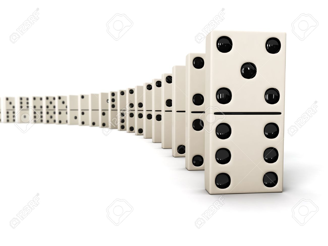 Domino - row of white dominoes isolated on white background Stock Photo -  12635692