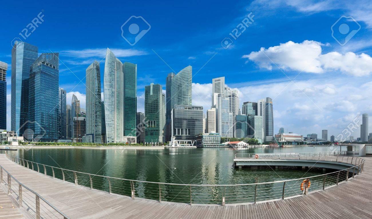 Singapore skyline of business district and Marina Bay panorama. Ultra wide angle Stock Photo - 13055005